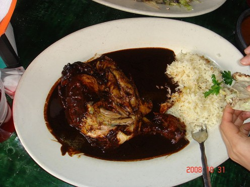 The dark sauce in the picture is one type of mole