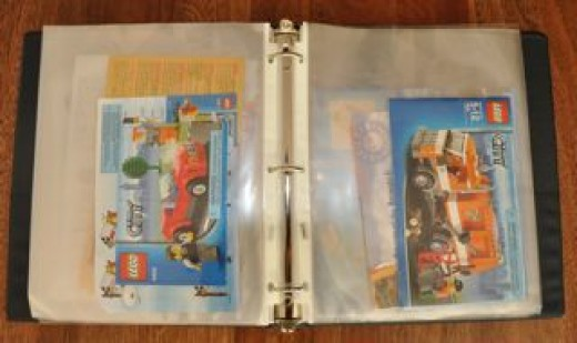 How to store your Lego instructions:  3-ring notebook with plastic page protectors.