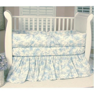 Blue Toile Crib Bedding