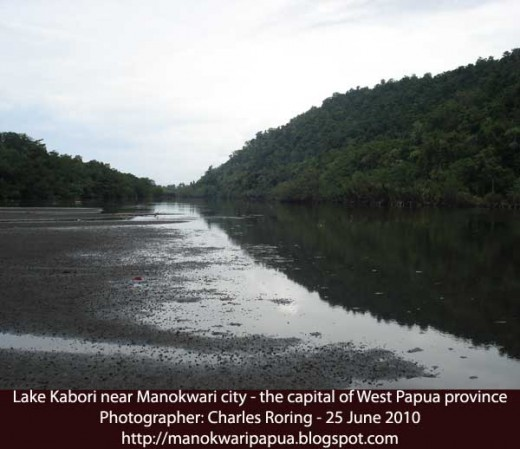 Lake Kabori near Manokwari city of West Papua Province, the Republic of Indonesia