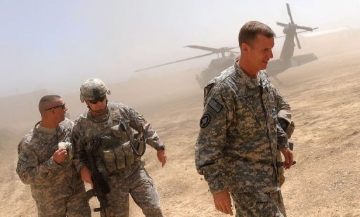 General Stanley McChrystal (right) arrives at the Baraki Barak Joint combat Outpost (JCOP) in Logar Province in 2009.