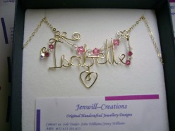 Isabelle hand crafted wire name pendant with wire heart charm in sterling silver