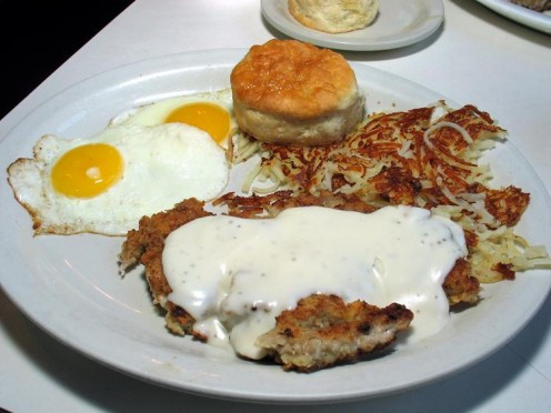 The chicken fried steak breakfast at Rock Cafe.  Photo by Michael Stern.