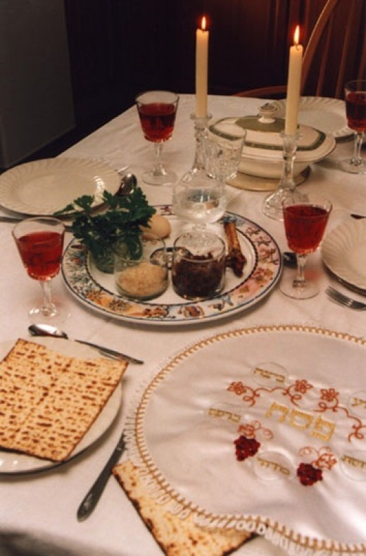 Beautifully set table for a Seder meal.
