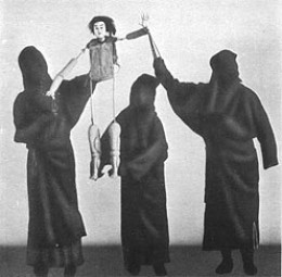 Showing the uncostumed body of a Bunraku puppet doll and how three puppeteers attend a single doll    The Society for International Cultural Relations, Tokyo, 1935