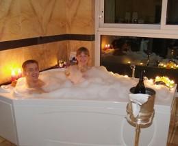 Romantic aromatherapy oil foam bath.