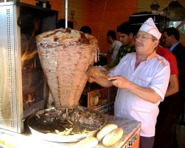 shawarma - lamb meat cooked in spit