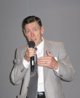 The writer addressing an audience of retirees in early 2010