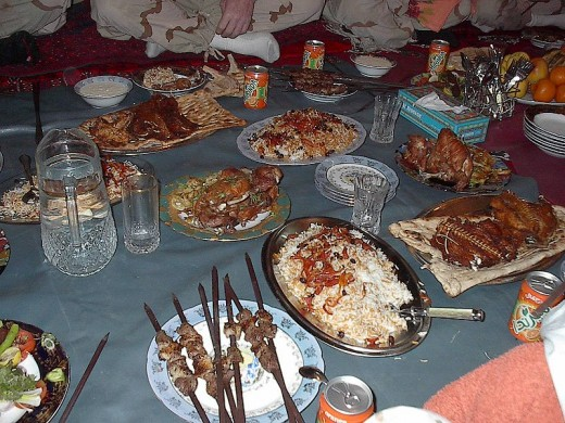 DINNER WITH US MILITARY MEN (Photo courtesy of US military officials in Southern Afghanistan)