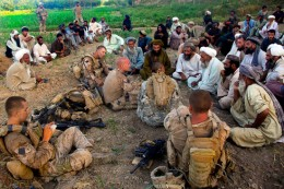 Marines hold a Jirga with local leaders in Helmand Afghanistan