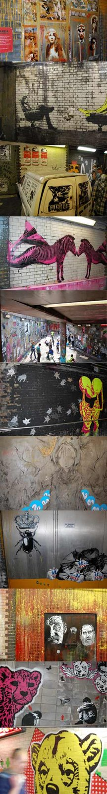 Some of the stencil art on display at the Cans Festival 2008 including work from Banksy, Dolk and Orticannoodles