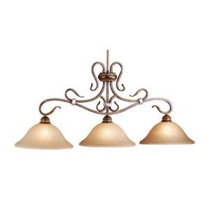 Berkeley - 3 Light Kitchen Island Lighting Fixture - Aged Walnut Bronze - Honey Linen Glass - B2735