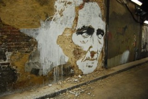 Vhils stole the show with this amazing stencil chisiled into the wall!