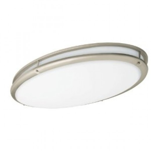 American Fluorescent CSV3232NT Contemporary Flush Mount, Nickel Finish Trim Bands, 32-Inches long 18-Inches wide