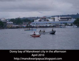 Manokwari city as seen from Dorey bay in the afternoon