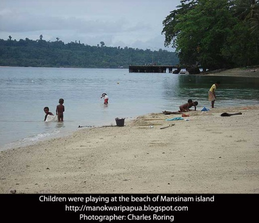 Children were playing at the beach of Mansinam island of Manokwari