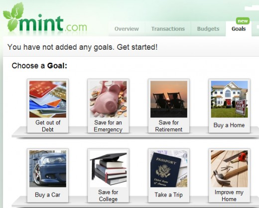 Mint's new goal tracking feature