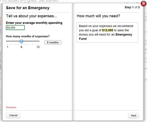 Saving for an emergency with Mint's goal tracking feature