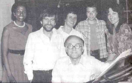 "The cast of the show ""An Evening with Donald Swann"". From left: Mara Louw, Will Bernard, Jo Dunstan, Natasha Swann and Laurika Rauch, with Donal Swann in front. January 1980."
