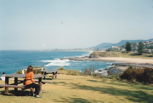 The Beautiful South Coast of New South Wales, Australia, looking south towards the city of Wollongong and Port Kembla.