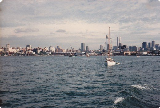 My home town, the city of Sydney.  Taken from a Manly ferry in the 1980s.  The skyline's a bit more crowded now