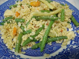 Rice, chicken, veggie, egg.