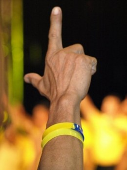"The classic ""Laban"" or fight sign employed in the Presidential candidacy of Cory Aquino and his son and the Philippine's newest President Benigno ""P-Noy"" Aquino"