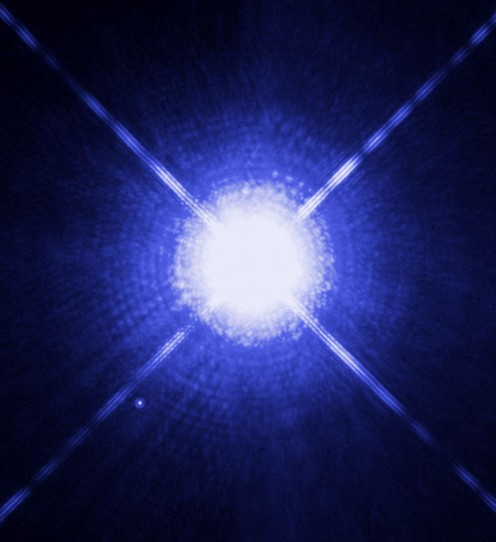 The Star Sirius A and its faint white dwarf companion, Sirius B