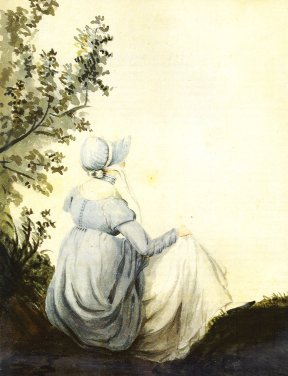 A watercolour done by sister Cassandra in 1804