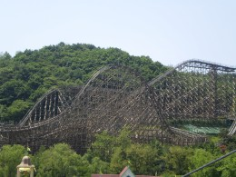 The T Express, the steepest wooden roller coaster in the world.