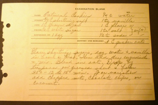 Here is a photo of that Examination Blank used for a recipe