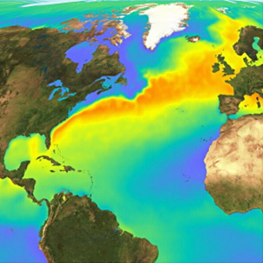 Satellite temperature image showing the Gulf Stream that carries water from the Gulf of Mexico to Europe.