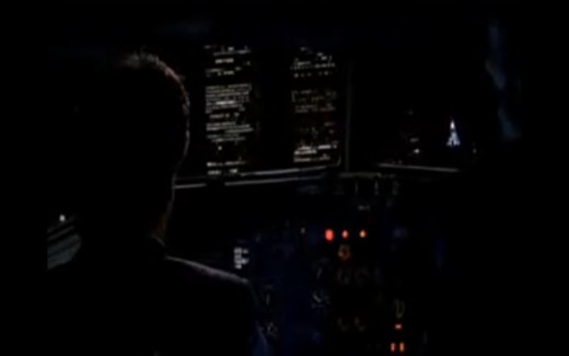 View from the WTC bound cockpit of a commercial airliner in The Lone Gunmen pilot episode.