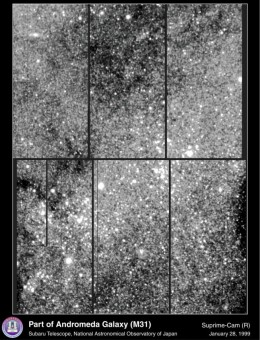This is a detailed photo mosaic of a region in the Andromeda Galaxy.