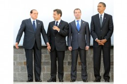 Italian Prime Minister Silvio Berlusconi, French President Nicolas Sarkosy, Russian President Dmitriy Medvevdev and US President Barack Obama