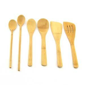 6 Piece Bamboo Cooking Utensil Set 4 Spoons and 2 Turners