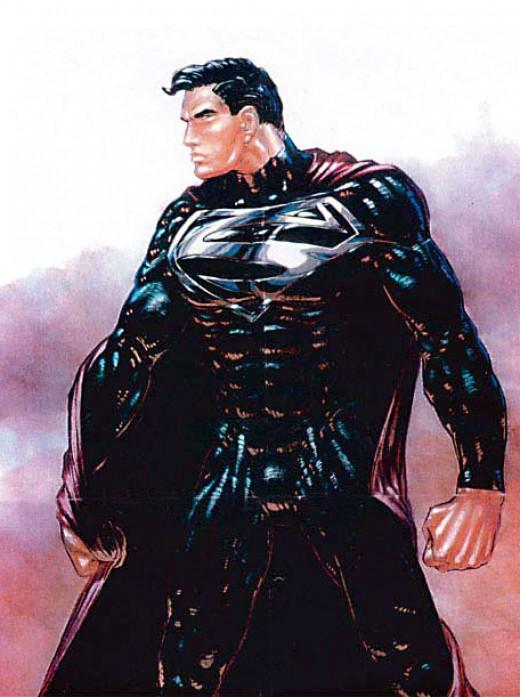 Concept artwork of the black suited Superman (Superman Lives).