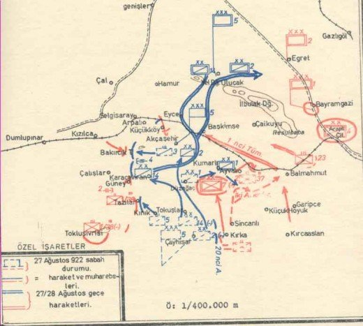 Breakthru of the Turk cavalry Aug 27 at Duplumpinar, a key railway station. Greek units east of this were unsupplied.