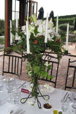 Wedding flowers on each table.