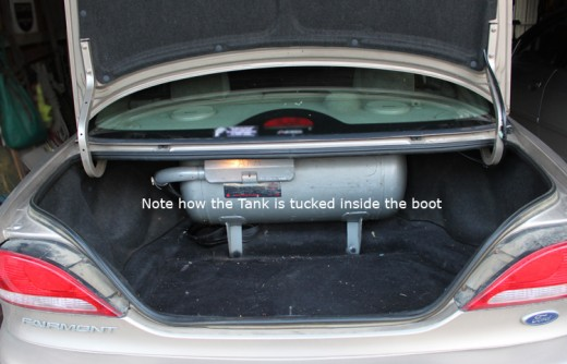 LPG tank inside the boot of our Ford Falcon