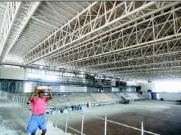 Thyagaraj Stadium under construction