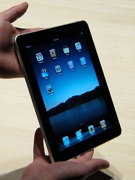 Close up of Apple iPad  Courtesy of Wikimedia Commons  http://www.flickr.com/people/69628725@N00