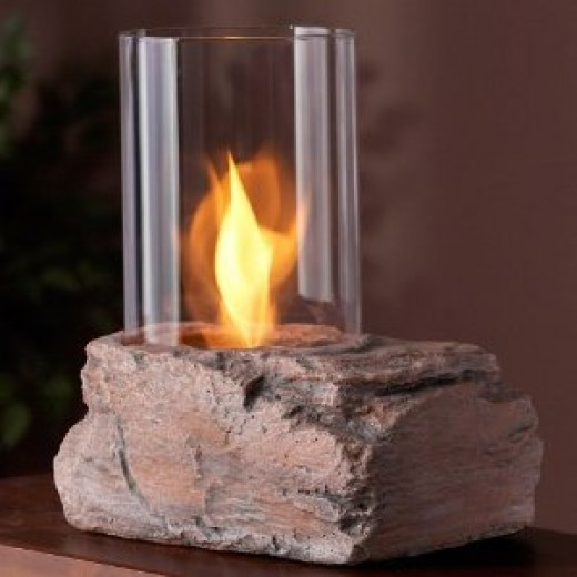 A gel fuel personal outdoor fireplace.