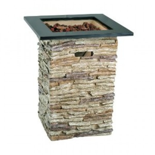 Outdoor propane fireplaces provide instant heat. Stone outdoor fireplaces are available in several styles.