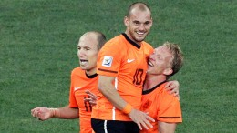 "Wesley Sneijder of the Netherlands scored the wining goal with a header in the 68th minute of the match. ""It just slipped through from my bald head and it was a great feeling,"" said Sneijder"