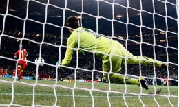 Ghana's John Mensah misses his country's third penalty in their World Cup quarter-final shoot-out defeat to Uruguay. Photograph: Luca Bruno/AP