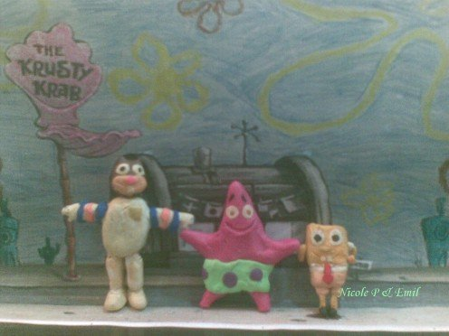 Sandy Squirrel, Patrick and Spongebob clay models