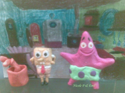 Patrick and Spongebob Clay Models