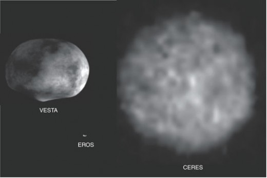 Asteroids Eros and Ceres are depicted here. Eros is a large Earth crossing asteroid where we landed a space probe after taking many close up photos.