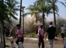 Tsunami waves rushing into the Indonesian lands, during the most devastating natural disaster ever.